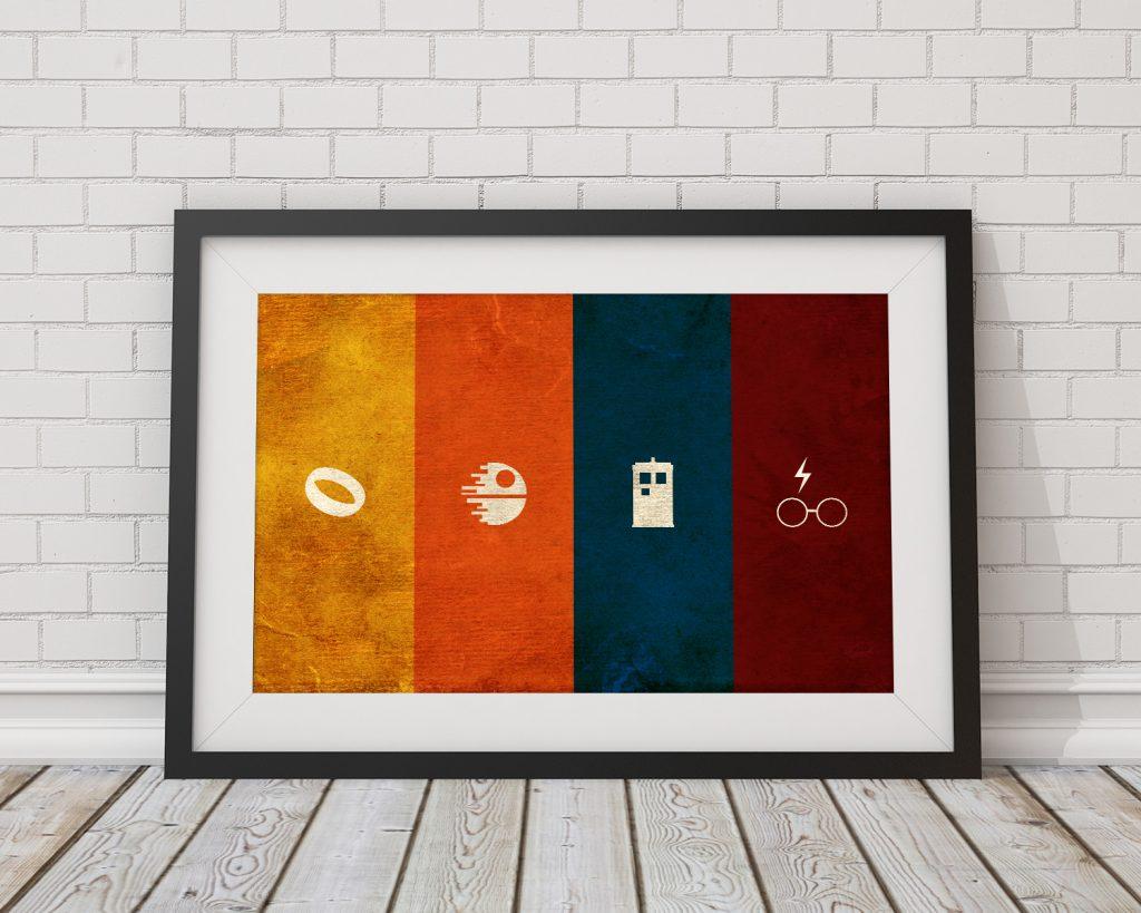 Geek Poster – Fantasy & Sci-Fi Nerdy Wall Art – Minimalist Wall Art Print 36×24