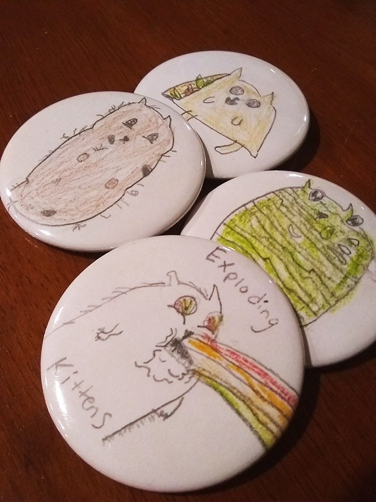 exploding kittens custom fan buttons